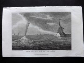Gallery of Nature 1818 Print. Water Spout seen near the Lipari Islands, Italy